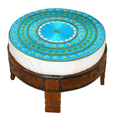 Embroidered Ottoman Upholstery: Aqua