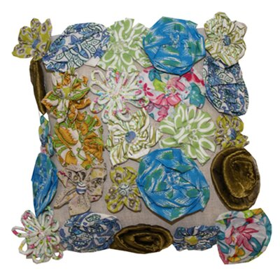 3D Floral Throw Pillow Color: Blue