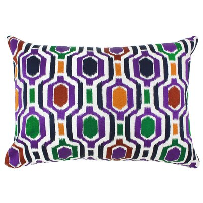 Embroidered Hex Indoor/Outdoor Lumbar Pillow