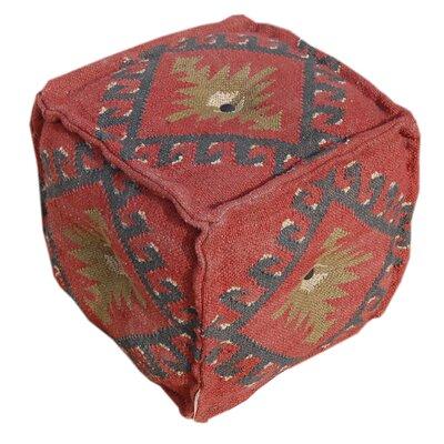 Wool Jute Square Pouf Ottoman