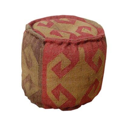 Wool Jute Round Pouf Ottoman