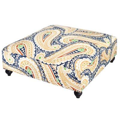 Paisley Print Ottoman Upholstery: Blue