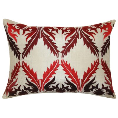 Vibrant Vines Cotton Lumbar Pillow Color: Red