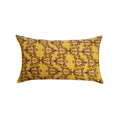 Rani Ikat 100% Cotton Lumbar Pillow Color: Yellow