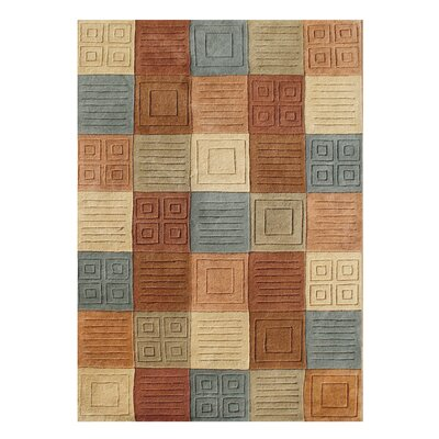 Alliyah Handmade Brown/Blue Area Rug Rug Size: 9 x 12