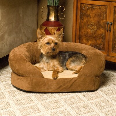 Orthopedic Sleeper Bolster Dog Bed Size: Medium (30 L x 25 W), Color: Brown Velvet