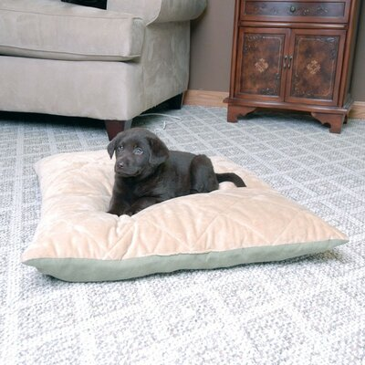 Quilted Heated Dog Pillow Size: Small (24 L x 19 W), Color: Sage / Tan
