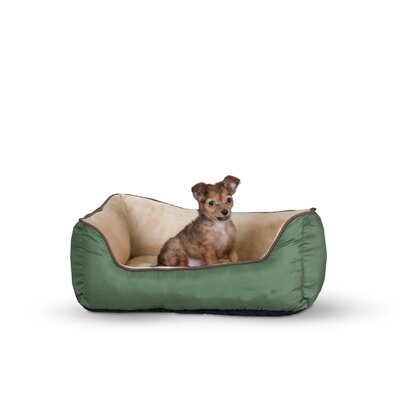 Self-Warming Heated Lounge Bolster Dog Bed Color: Sage / Tan