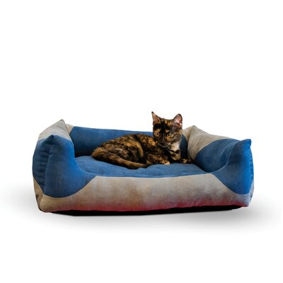 Classy Cat Lounger Color: Gray / Blue, Size: Large - 28 L x 32 W