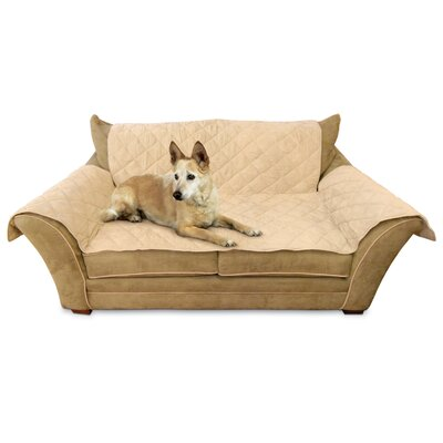 Microsuede Loveseat Slipcover Upholstery: Tan