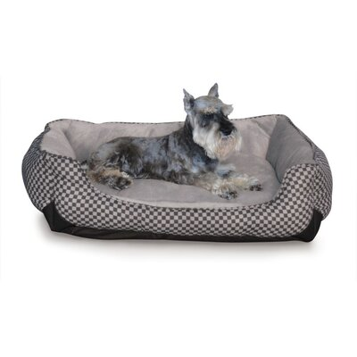 Self Warming Lounge Sleeper Bolster Dog Bed Size: Large (40 L x 32 W), Color: Black