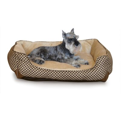 Self Warming Lounge Sleeper Bolster Dog Bed Size: Large (40 L x 32 W), Color: Brown