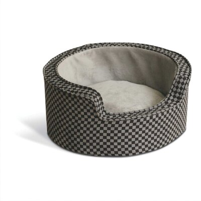 Comfy Round Sleeper Bolster Dog Bed Size: Small (18 L x 18 W), Color: Gray / Black