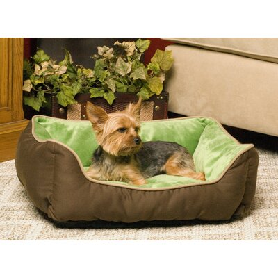 Self-Warming Heated Lounge Bolster Dog Bed Color: Mocha / Green