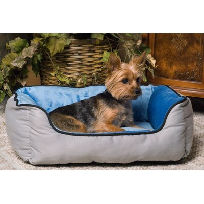 Self-Warming Heated Lounge Bolster Dog Bed Color: Gray / Blue
