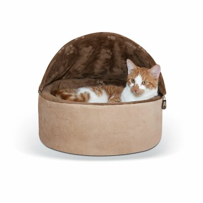 Self-Warming Kitty Hooded Bed Size: Small (16 W x 16 D x 12.5 H), Color: Chocolate/Tan