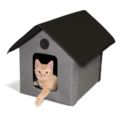 Outdoor Heated Barn Cat House Color: Gray/Black