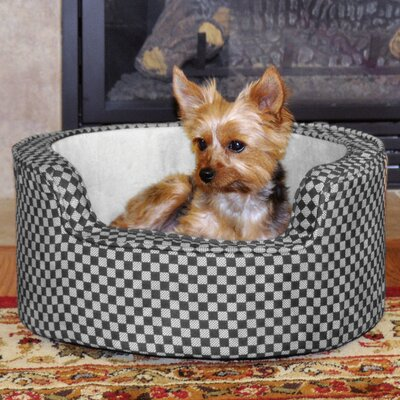 Round Comfy Sleeper Self-Warming Pet Bolster Color: Gray/Black