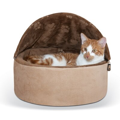 Self-Warming Kitty Bed Hooded Size: Small - 16 L x 16 W, Color: Tan