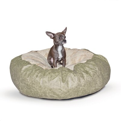 Self Warming Cuddle Ball Dog Pillow Size: Small (28 L x 28 W), Color: Green Distress