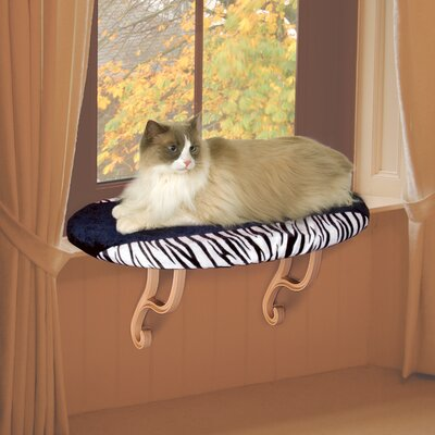 24 Kitty Sill Cat Perch Heat: Unheated, Color: Zebra Print