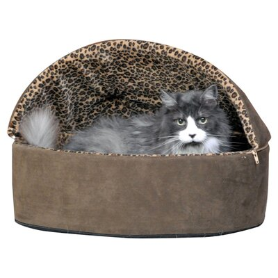 Leopard Deluxe Heated Hooded Cat Bed Size: Small (16 H x 16 W), Color: Tan