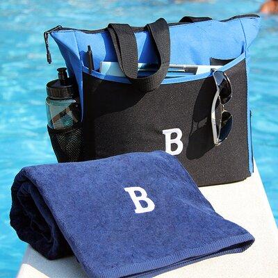 Luxor Linens Bora Bora Resort 3 Piece Beach Towel Set - Monogram Letter: X Color: Purple Bag & Towel