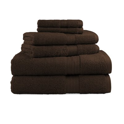 Bliss Egyptian Quality Cotton Luxury 6 Piece Towel Set Color: Chocolate