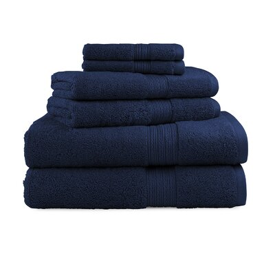 Bliss Egyptian Quality Cotton Luxury 6 Piece Towel Set Color: Navy