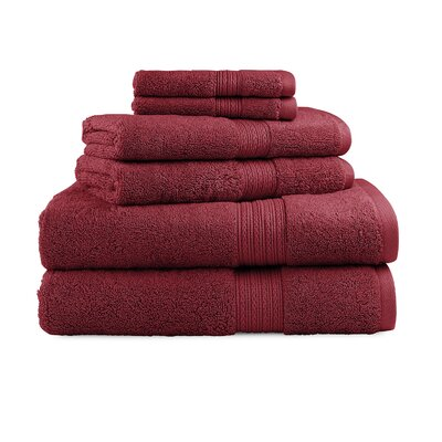 Bliss Egyptian Quality Cotton Luxury 6 Piece Towel Set Color: Garnet Red
