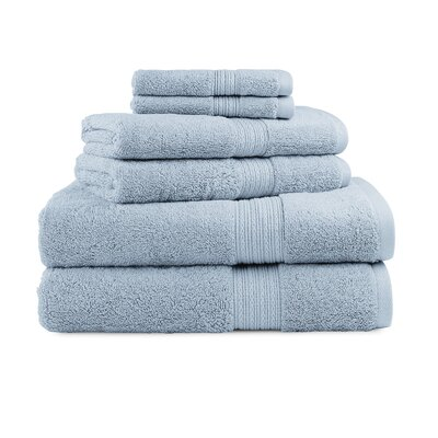 Bliss Egyptian Quality Cotton Luxury 6 Piece Towel Set Color: Smoke Blue