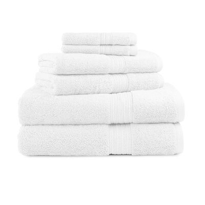 Bliss Egyptian Quality Cotton Luxury 6 Piece Towel Set Color: White