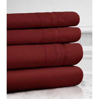 Valentino 4 Piece 1200 Thread Count Egyptian Quality Cotton Sheet Set Size: Queen, Color: Wine