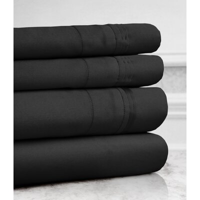 Valentino 4 Piece 1200 Thread Count Egyptian Quality Cotton Sheet Set Color: Black, Size: King