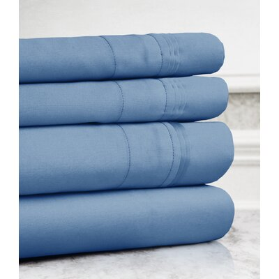 Valentino 4 Piece 1200 Thread Count Egyptian Quality Cotton Sheet Set Size: California King, Color: Blue