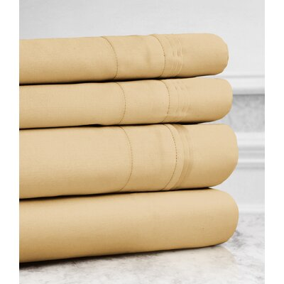 Valentino 4 Piece 1200 Thread Count Egyptian Quality Cotton Sheet Set Size: King, Color: Gold