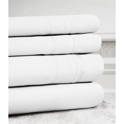 Valentino 4 Piece 1200 Thread Count Egyptian Quality Cotton Sheet Set Color: White, Size: King