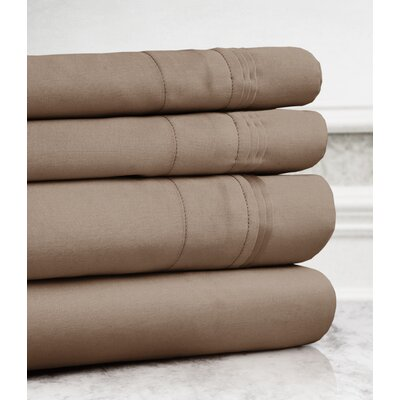 Valentino 4 Piece 1200 Thread Count Egyptian Quality Cotton Sheet Set Size: Full, Color: Taupe