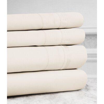 Valentino 4 Piece 1200 Thread Count Egyptian Quality Cotton Sheet Set Size: Queen, Color: Ivory