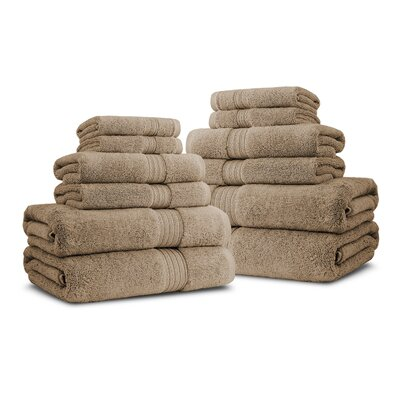 Bliss Egyptian Quality Cotton Luxury 12 Piece Towel Set Color: Linen