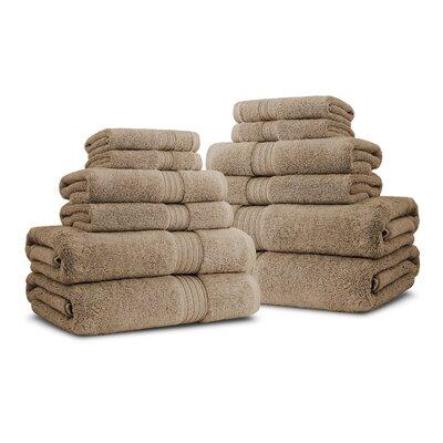 Bliss Egyptian Quality Cotton Luxury 12 Piece Towel Set Color: Linen