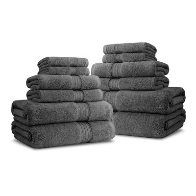 Bliss Egyptian Quality Cotton Luxury 12 Piece Towel Set Color: Charcoal