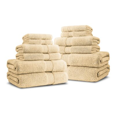 Bliss Egyptian Quality Cotton Luxury 12 Piece Towel Set Color: Gold