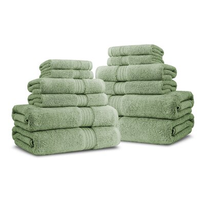 Bliss Egyptian Quality Cotton Luxury 12 Piece Towel Set Color: Celery