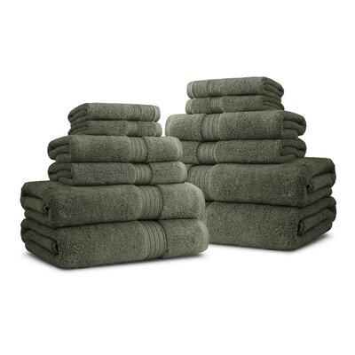 Bliss Egyptian Quality Cotton Luxury 12 Piece Towel Set Color: Moss
