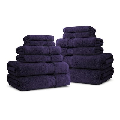Bliss Egyptian Quality Cotton Luxury 12 Piece Towel Set Color: Plum