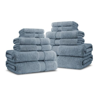 Bliss Egyptian Quality Cotton Luxury 12 Piece Towel Set Color: Smoke Blue
