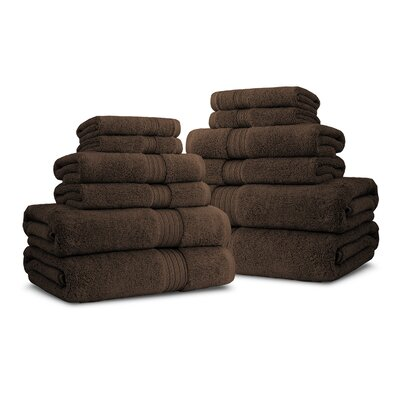 Bliss Egyptian Quality Cotton Luxury 12 Piece Towel Set Color: Chocolate