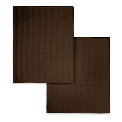 Valentino Stripe Pillowcase Size: Standard, Color: Chocolate