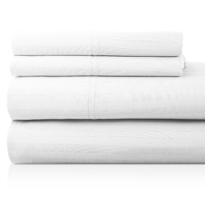 Valentino 4 Piece 1200 Thread Count Egyptian Quality Cotton Sheet Set Size: California King, Color: White